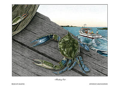 Blue Crab Drawing - Heading Out by Jonathan W Brown