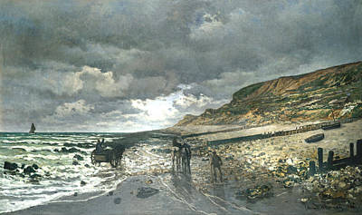 Rocky Digital Art - Headland Of The Heve At Low Tide by Claude Monet