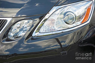 Photograph - Headlight And Front Automobile Grill   by David Zanzinger