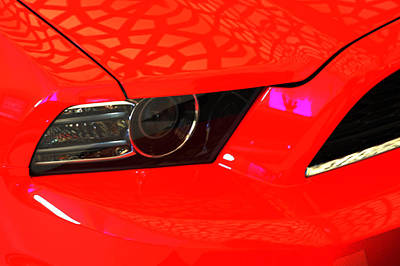 Photograph - Headlight Of Red Ford Mustang by Jenny Rainbow