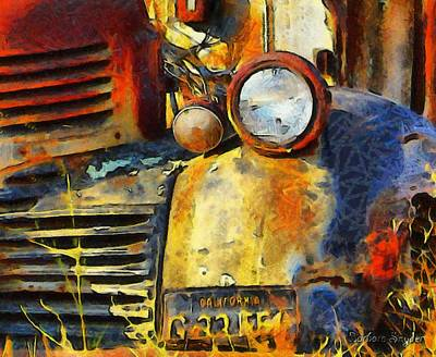 Photograph - Headlight On A Retired Relic Abstract by Barbara Snyder