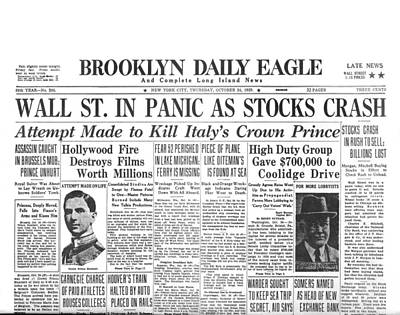 Headlines For Wall St. Crash Art Print by Underwood Archives