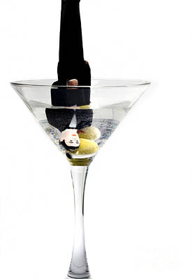 Bad Relationship Photograph - Heads Down Into The Martini Glass.it Was A Very Bad Date by Linda Matlow