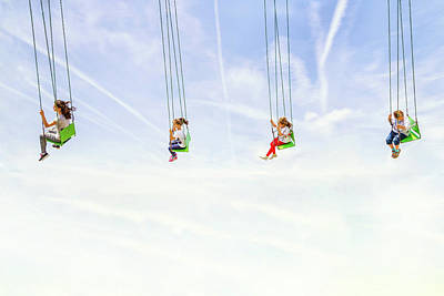 Swings Wall Art - Photograph - Heads In The Clouds! by Marius Cintez?