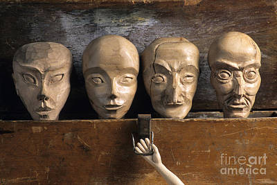 Wood Box Photograph - Heads Of Wooden Puppets by Bernard Jaubert