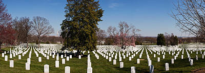 Headstones In A Cemetery, Arlington Art Print by Panoramic Images