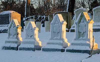 Photograph - Headstones In Winter 2 by Jennifer Kano