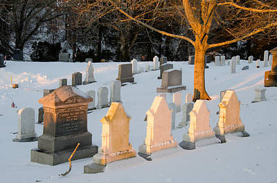 Photograph - Headstones In Winter 3 by Jennifer Kano