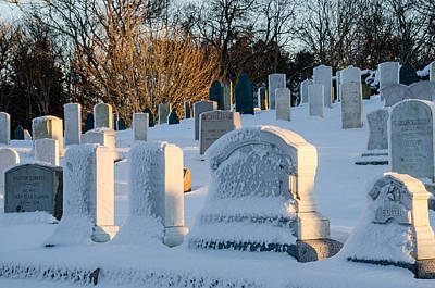 Photograph - Headstones In Winter by Jennifer Kano