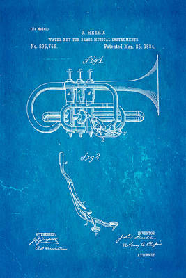 1884 Photograph - Heald Brass Instrument Water Key Patent Art 1884 Blueprint by Ian Monk