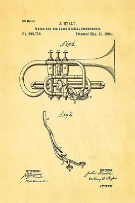 1884 Photograph - Heald Brass Instrument Water Key Patent Art 1884 by Ian Monk