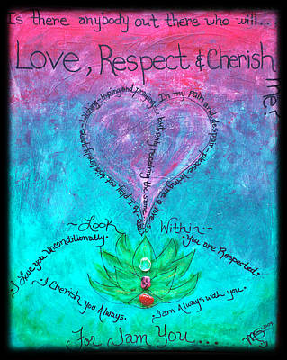 Twin Flame Painting - Healing Art - Love Respect And Cherish Me? by Absinthe Art By Michelle LeAnn Scott