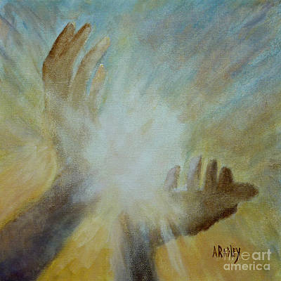 Chakra Painting - Healing Hands by Ann Radley