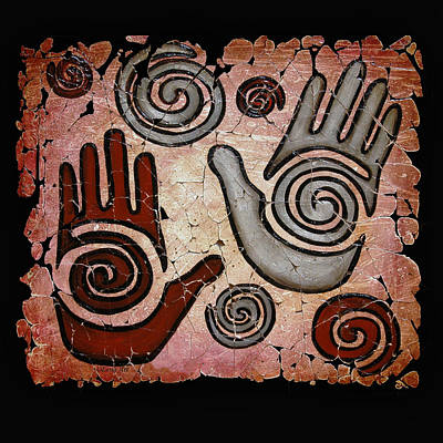 Medicine Wheel Painting - Healing Hands Fresco by Lena  Owens OLena Art