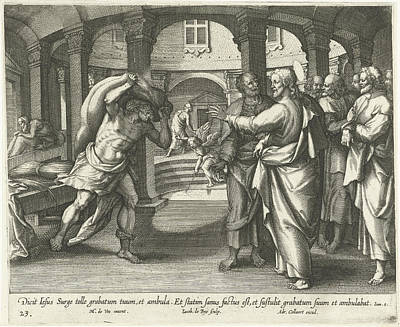 Healing Drawing - Healing Of The Man At The Pool Of Bethesda by Jacques De Bie And Adriaen Collaert