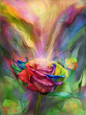 Rainbow Rose Mixed Media - Healing Rose by Carol Cavalaris