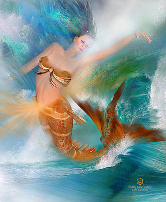 Mermaid Mixed Media - Healing Sacral Goddess by Carol Cavalaris