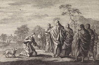 Metaphor Drawing - Healing The Daughter Of The Canaanite Woman by Jan Luyken And Pieter Mortier