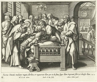 Healing Drawing - Healing The Mother Of Peter, Jacques De Bie by Jacques De Bie And Adriaen Collaert