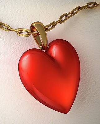 Heart Necklace Photograph - Hear Shaped Locket by Leonello Calvetti