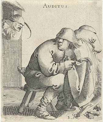 Crying Drawing - Hearing, Pieter Jansz by Pieter Jansz. Quast