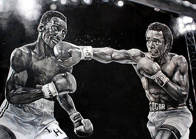 Hearns Vs. Leonard Art Print by Michael  Pattison