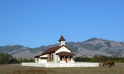 Jesus Christ Digital Art - Hearst Castle Simeon Village Church Horses by Barbara Snyder
