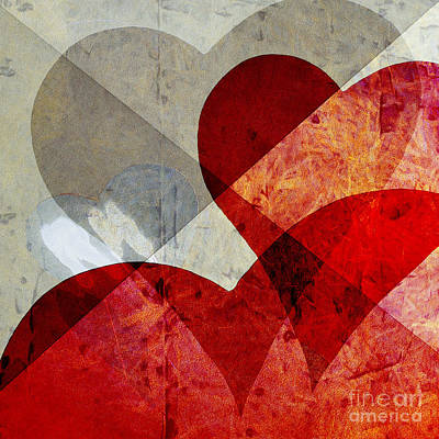 Abstract Hearts Photograph - Hearts 8 Square by Edward Fielding