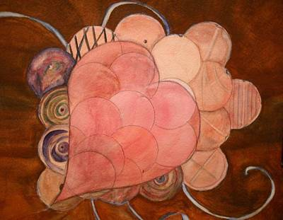 Copper Beads Painting - Heart And Beads by Marian Hebert