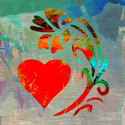 Heart And Flowers Print by Marvin Blaine