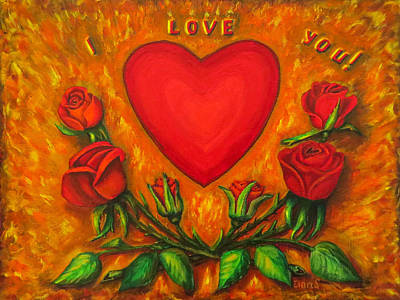 Heart And Roses Of Love Original by Zina Stromberg