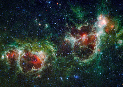 Heart And Soul Nebula As Seen By Wise Print by Space Art Pictures