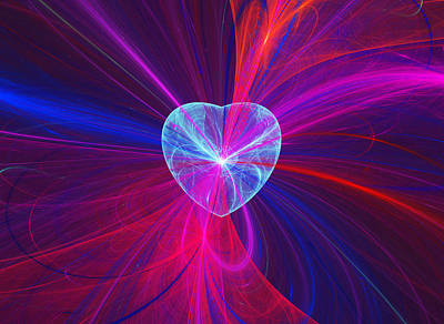 Abstract Hearts Digital Art - Heart And Swirls by Sandy Keeton