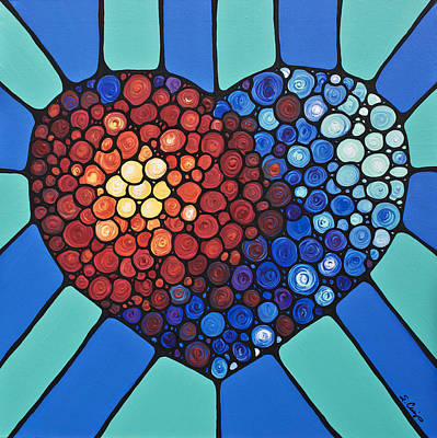 Engagement Painting - Heart Art - Love Conquers All 2  by Sharon Cummings