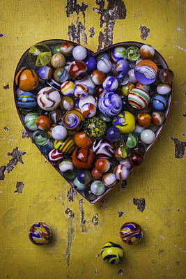 Amusing Photograph - Heart Box Full Of Marbles by Garry Gay