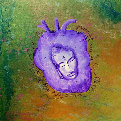 Large Buddha Painting - Heart Chakra Art Green Anahala by Holly Anderson and Pato Aguilar