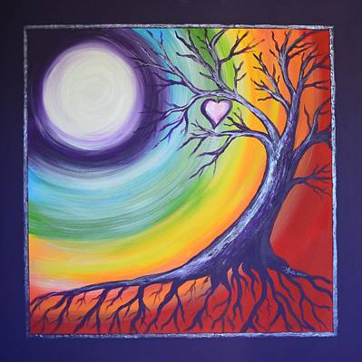Painting - Heart Chakra Meditation by Agata Lindquist