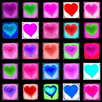 Heart Collage Art Print by Cindy Edwards