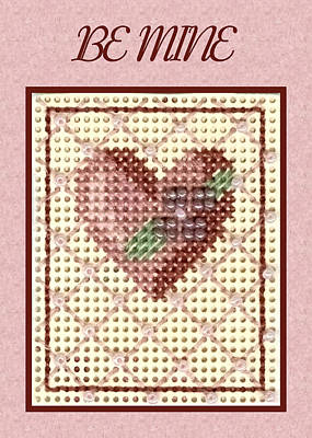Painting - Valentine Heart Pink Card by Ruth Soller