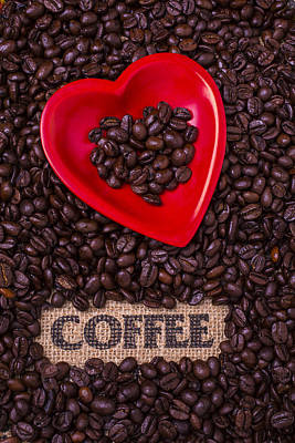 Photograph - Heart Dish With Coffee Beans by Garry Gay