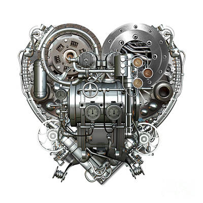 Mechanisms Mixed Media - Heart by Diuno Ashlee