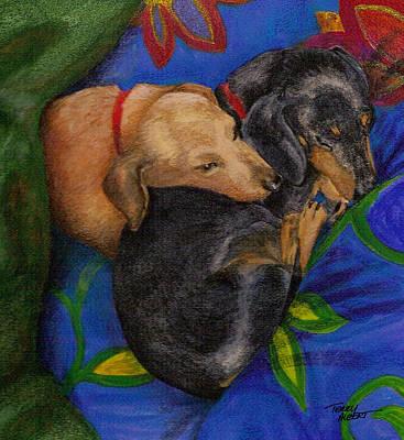 Heart Dogs Art Print