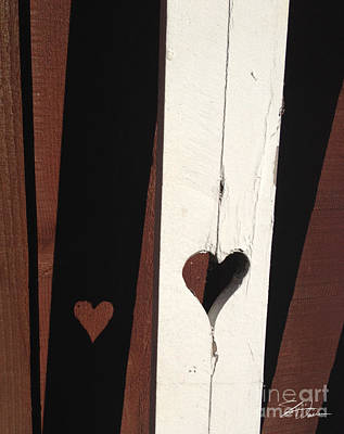 Old Fence Mixed Media - Heart Fence Shadow  by Shari Warren