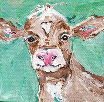 Moos Painting - Heart Head Cow by Molly Susan Strong
