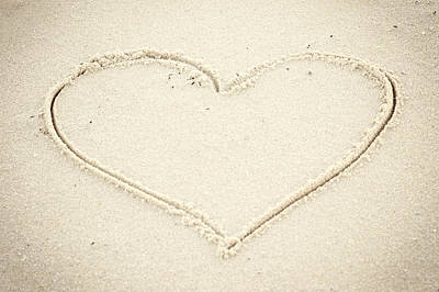 Heart In Sand Seaside New Jersey Art Print by Terry DeLuco