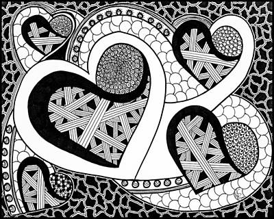 Zentangles Drawing - Heart-locked by Melissa Smith