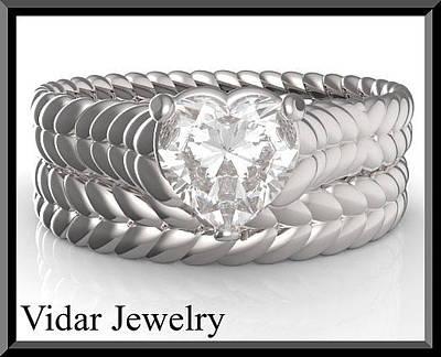 14k White Gold Jewelry - Heart Moissanite 14k White Gold Wedding Ring And Engagement Ring Set by Roi Avidar