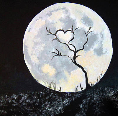 Painting - Heart Moon And Tree by Lisa Stanley
