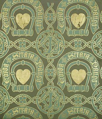 Heart Motif Ecclesiastical Wallpaper Art Print by Augustus Welby Pugin