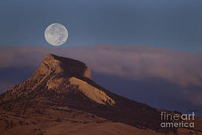 Heart Mountain And Full Moon-signed-#0325 Art Print by J L Woody Wooden